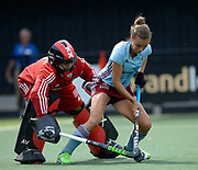 Amsterdam's keeper Anne Veenendaal challenges with Hamburg's Jana Teschkein the shoot-out during the semi final of the EHCC 2017 at Den Bosch HC, The Netherlands, 3rd June 2017