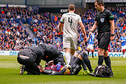 Jermain Defoe of Rangers FC clashes with Aberdeen keeper Joe Lewis during the Ladbrokes Scottish Premiership match between Rangers and Aberdeen at Ibrox, Glasgow, Scotland on 27 April 2019.