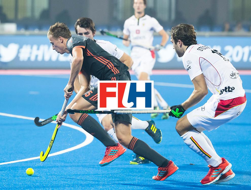 BHUBANESWAR - Thijs van Dam (Ned) met rechts Manu Stockbroekx (Bel)   tijdens de Hockey World League Final wedstrijd Belgie-Nederland (3-0).   COPYRIGHT KOEN SUYK