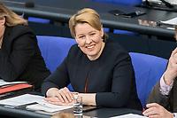 14 FEB 2019, BERLIN/GERMANY:<br /> Franziska Giffey, MdB, SPD, Bundesfamilienministerin, Bundestagsdebatte, Plenum, Deutscher Bundestag<br /> IMAGE: 20190214-01-047<br /> KEYWORDS: Bundestag, Debatte