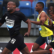Dewayne Barrett, Jamaica, in action in the Men's 400m during the Diamond League Adidas Grand Prix at Icahn Stadium, Randall's Island, Manhattan, New York, USA. 25th May 2013. Photo Tim Clayton