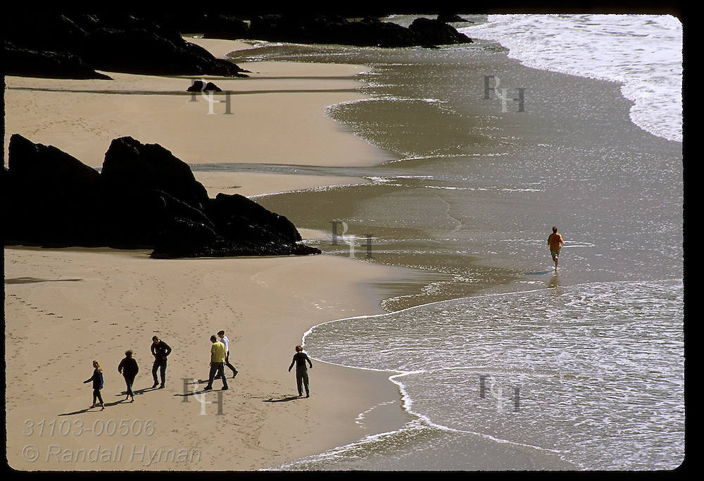 Woman wades along Coumeenole Beach as others walk in the sand; Dunmore Head, Dingle Peninsula, Ireland.