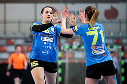 Tjasa Stanko of RK Krim Mercator and Ines Amon of RK Krim Mercator celebrates during handball match between RK Zagorje and RK Krim Mercator in Final game of Slovenian Women Handball Cup 2017/18, on April 1, 2018 in Park Kodeljevo, Ljubljana, Slovenia. Photo by Matic Klansek Velej / Sportida