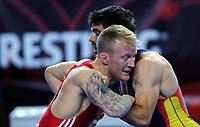 BILDET INNGÅR IKEK I FASTAVTALER. ALL NEDLASTING BLIR FAKTURERT.<br /> <br /> Bryting<br /> Foto: imago/Digitalsport<br /> NORWAY ONLY<br /> <br /> 15.04.2016 Zrenjanin (Serbia) European OG qualifying tournament-United World Wrestling greco roman 59kg 1/8 final Stig Andre Berge (in front) Norway