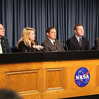 SpaceX President Gwynne Shotwell  discusses the Falcon 9 rocket test launch delay at Cape Canaveral's Complex 40 launch pad after cracks were discovered on a nozzle on December 6, 2010 at Cape Canaveral, Florida. (AP Photo/Alex Menendez)