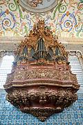 Pipe organ in the interior of the Capela de Sao Miguel (Saint Michael's Chapel) of University of Coimbra, Portugal