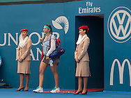 Ajla Tomljanovic (CRO) Enteres court on the Emirates red carpet<br /> <br /> Tennis - Brisbane International 2015 - ATP 250 - WTA -  Queensland Tennis Centre - Brisbane - Queensland - Australia  - 4 January 2015. &copy; Tennis Photo Network