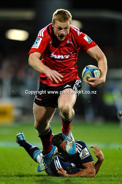 Johnny McNicholl of the Crusaders on the burst in the Super rugby match,  Crusaders v The Blues, at AMI Stadium, Christchurch, on the 5 July 2014 . Photo:John Davidson/www.photosport.co.nz