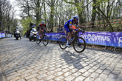 Tim Declercq (BEL) Deceuninck-Quick Step and John Degenkolb (GER) Trek-Segafredo on the the first ascent of the Kemmelberg during the 2019 Gent-Wevelgem in Flanders Fields running 252km from Deinze to Wevelgem, Belgium. 31st March 2019.<br /> Picture: Eoin Clarke | Cyclefile<br /> <br /> All photos usage must carry mandatory copyright credit (© Cyclefile | Eoin Clarke)