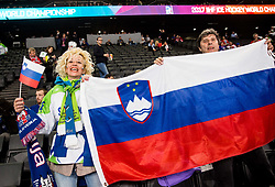 Fans of Slovenia during the 2017 IIHF Men's World Championship group B Ice hockey match between National Teams of Slovenia and Norway, on May 9, 2017 in Accorhotels Arena in Paris, France. Photo by Vid Ponikvar / Sportida