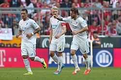 29.03.2014, Allianz Arena, Muenchen, GER, 1. FBL, FC Bayern Muenchen vs TSG 1899 Hoffenheim, 28. Runde, im Bild l-r: Torjubel von Sejad Salihovic #23 (TSG 1899 Hoffenheim), Andreas Beck #2 (TSG 1899 Hoffenheim) und Eugen Polanski #8 (TSG 1899 Hoffenheim) // during the German Bundesliga 28th round match between FC Bayern Munich and TSG 1899 Hoffenheim at the Allianz Arena in Muenchen, Germany on 2014/03/29. EXPA Pictures © 2014, PhotoCredit: EXPA/ Eibner-Pressefoto/ Kolbert<br /> <br /> *****ATTENTION - OUT of GER*****