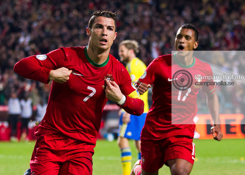 Lisbon 2013-11-15:  <br /> <br /> Portugal 7 Cristiano Ronaldo scores the 1-0 goal against Sweden durring their World Cup playoff match in Lisbon, Portugal. <br /> <br /> (Photo: Michael Campanella / Pic-Agency)