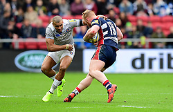 Will Hurrell of Bristol Rugby evades the tackle from Jonathan Joseph of Bath Rugby  - Mandatory by-line: Joe Meredith/JMP - 26/02/2017 - RUGBY - Ashton Gate - Bristol, England - Bristol Rugby v Bath Rugby - Aviva Premiership