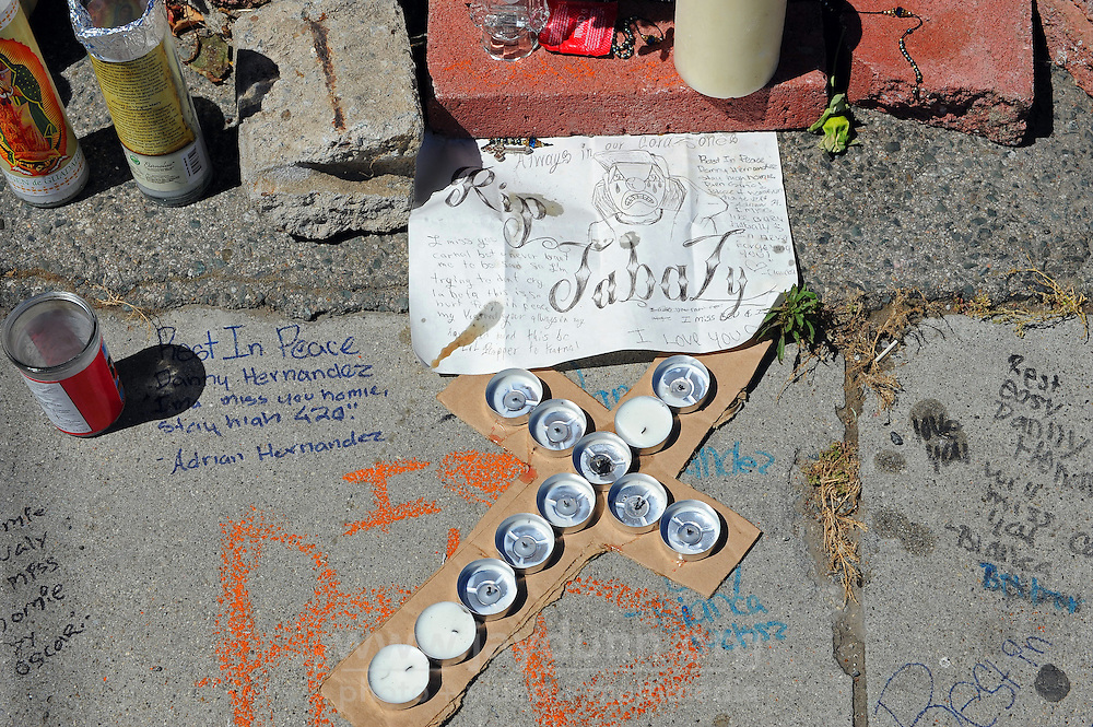 The memorial made by friends and neighbors to Danny Hernandez, one of the many shooting victims claimed by gun violence in Salinas.