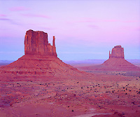 I captured the muted and subtile colors of purple, pink and blue in this classic photo of Monument Valley.