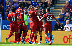 LEICESTER, ENGLAND - Saturday, September 1, 2018: Liverpool's Roberto Firmino celebrates scoring the second goal with team-mate James Milner during the FA Premier League match between Leicester City and Liverpool at the King Power Stadium. (Pic by David Rawcliffe/Propaganda)