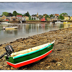 """Skiff on the shore of Pierce Island in Portsmouth, New Hampshire. iPhone photo - suitable for print reproduction up to 8"""" x 12""""."""