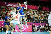 DESCRIZIONE : Handball Jeux Olympiques Londres Quart de Finale<br /> GIOCATORE : Lacrabere Alexandra FRA<br /> SQUADRA : France Femme<br /> EVENTO : FRANCE Handball Jeux Olympiques<br /> GARA : France Montenegro<br /> DATA : 08 08 2012<br /> CATEGORIA : handball Jeux Olympiques<br /> SPORT : HANDBALL<br /> AUTORE : JF Molliere <br /> Galleria : France JEUX OLYMPIQUES 2012 Action<br /> Fotonotizia : France Handball Femme Jeux Olympiques Londres Quart de Finale Copper Box<br /> Predefinita :