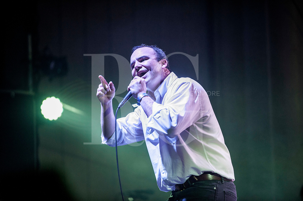 Singer Samuel Herring of the American band Future Islands performs at the O2 Academy as part of the BBC Radio 6 Music Festival - Day one on March 24, 2017 in Glasgow,UK
