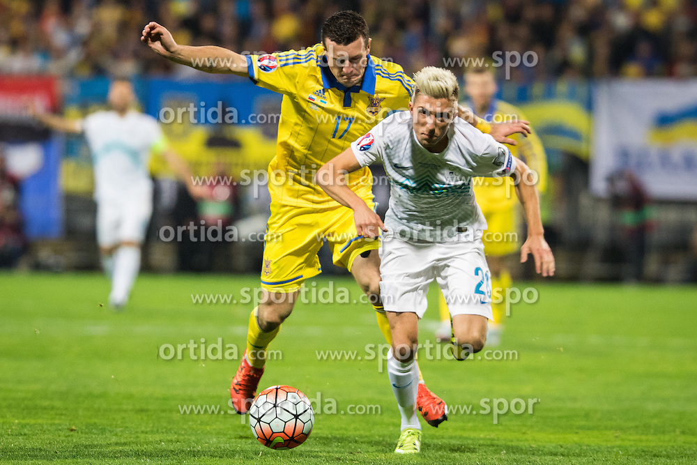 Kevin Kampl (SLO) vs Artem Fedetskiy (UKR) during the UEFA EURO 2016 Play-off for Final Tournament, Second leg between Slovenia and Ukraine, on November 17, 2015 in Stadium Ljudski vrt, Maribor, Slovenia. Photo by Ziga Zupan / Sportida