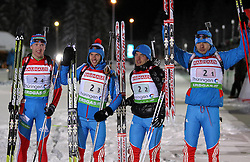 05.01.2012, DKB-Ski-ARENA, Oberhof, GER, E.ON IBU Weltcup Biathlon 2012, Staffel Herren, im Bild Russland erreicht Rang 2, hier Alexey Volkov , Evgeny Ustyugov , Evgeniy Garanichev und Anton Shipulin (alle RUS) // during relay Mens of E.ON IBU World Cup Biathlon, Thüringen, Germany on 2012/01/05. EXPA Pictures © 2012, PhotoCredit: EXPA/ nph/ Hessland..***** ATTENTION - OUT OF GER, CRO *****
