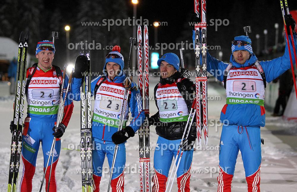 05.01.2012, DKB-Ski-ARENA, Oberhof, GER, E.ON IBU Weltcup Biathlon 2012, Staffel Herren, im Bild Russland erreicht Rang 2, hier Alexey Volkov , Evgeny Ustyugov , Evgeniy Garanichev und Anton Shipulin (alle RUS) // during relay Mens of E.ON IBU World Cup Biathlon, Thüringen, Germany on 2012/01/05. EXPA Pictures © 2012, PhotoCredit: EXPA/ nph/ Hessland..***** ATTENTION - OUT OF GER, CRO *****