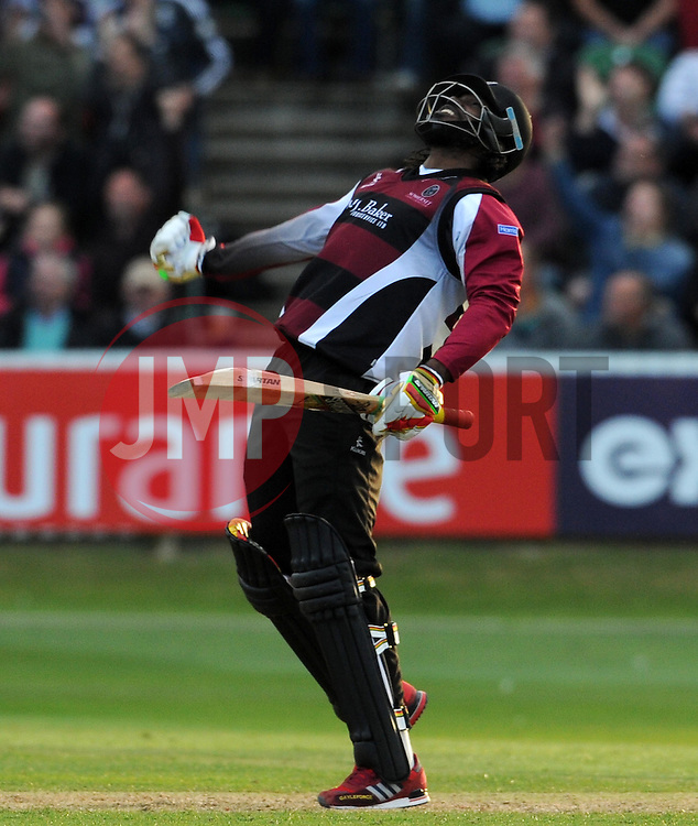 Somerset's Chris Gayle celebrates victory - Photo mandatory by-line: Harry Trump/JMP - Mobile: 07966 386802 - 05/06/15 - SPORT - CRICKET - Somerset v Hampshire - The County Ground, Taunton, England.