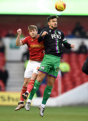 Marlon Pack of Bristol City battles for the high ball with Jamie Ward of Nottingham Forest  - Mandatory byline: Joe Meredith/JMP - 27/02/2016 - FOOTBALL - The City Ground - Nottingham, England - Nottingham Forest v Bristol City - Sky Bet Championship
