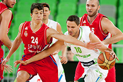 Vladimir Lucic of Serbia and Bostjan Nachbar of Slovenia during friendly basketball match between National teams of Slovenia and Serbia of Adecco Ex-Yu Cup 2012 as part of exhibition games 2012, on August 5, 2012, in Arena Stozice, Ljubljana, Slovenia. (Photo by Urban Urbanc / Sportida)
