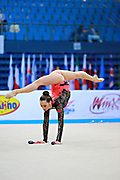 Halkina Katsiaryna during qualifying at clubs in Pesaro World Cup 11 April 2015.   Katsiaryna is a Belarusian rhythmic gymnastics athlete born  February 25, 1997 in Minks, Belarus.