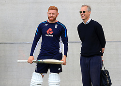 England's Jonny Bairstow with national team selector Ed Smith during a nets session at Edgbaston, Birmingham.