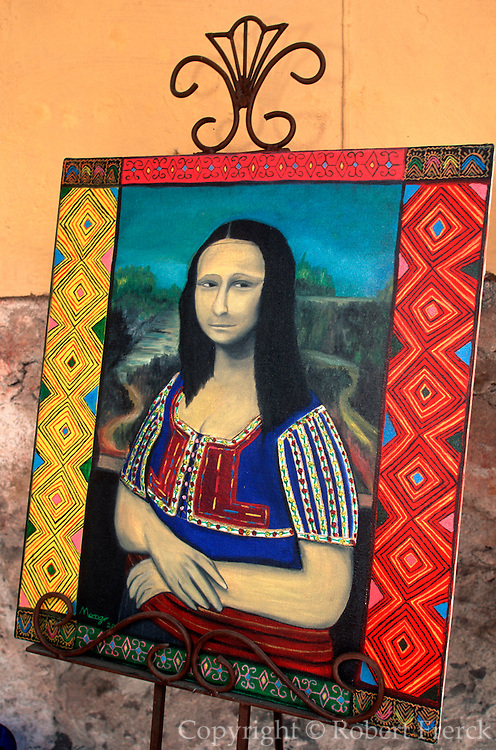 MEXICO, COLONIAL CITIES, GUANAJUATO San Miguel de Allende: a whimsical version of the Mona Lisa in a tourist shop near  the El Jardin Plaza