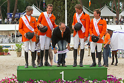 Team of the Netherlans winners of the FEI Nations Cup Rome 2011<br /> Van der Vleuten Eric, Smolders Harry, Chef d'equipe Ehrens Rob, Dubbeldam Jeroen, Schroder Gerco<br /> © Dirk Caremans