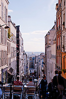 View down a street near Montmartre, Paris