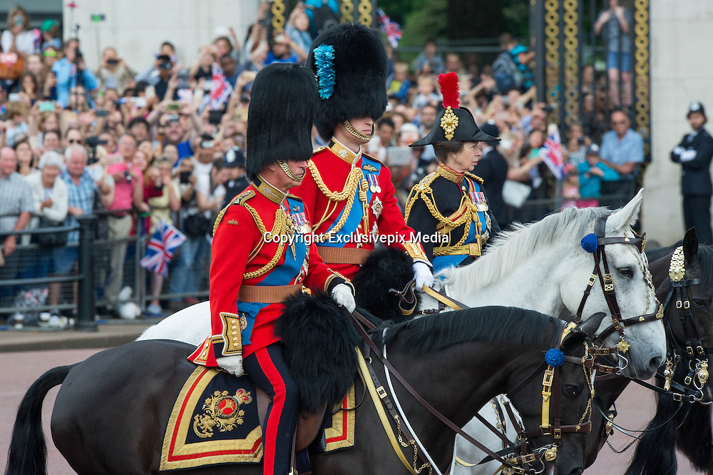 LONDON - UK - 11th June 2016: Members of the British royal family join HM Queen Elizabeth II and HRH The Duke of Edinburgh for the annual Trooping The Colour ceremony in London.<br /> The Queen joined by many members of the family including HRH The Prince of Wales, with HRH The Duchess of Cornwall, The Duke and Duchess of Cambridge, Prince Harry, Prince Edward and HRH The Countess of Wessex, Prince Andrew, Princess Beatrice and Princess Eugenie.<br /> <br /> ©Ian Jones/Exclusivepix Media