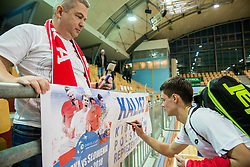 Kamil Majchrzak of Poland with fans after winning during the Day 1 of Davis Cup 2018 Europe/Africa zone Group II between Slovenia and Poland, on February 3, 2018 in Arena Lukna, Maribor, Slovenia. Photo by Vid Ponikvar / Sportida