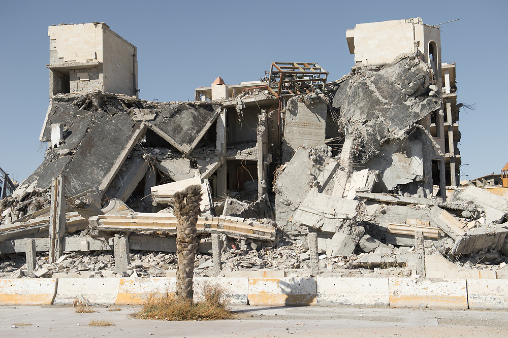 War-damaged houses in Raqqa, Syria, October 18, 2017