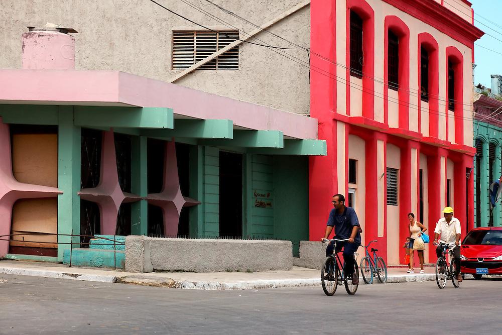 Colorful buildings in Cardenas, Matanzas, Cuba.