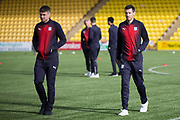 16th February 2019, Tony Macaroni Arena, Livingston, Scotland; Ladbrokes Premiership football, Livingston versus Dundee; Darren O'Dea and Ryan McGowan of Dundee inspects the pitch before the match