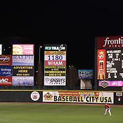Red Wings outfielder Oswaldo Colabello in the outfield surrounded by advertising during the Rochester Red Wings V The Scranton/Wilkes-Barre RailRiders, Minor League ball game at Frontier Field, Rochester, New York State. USA. 16th April 2013. Photo Tim Clayton