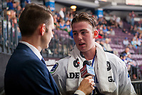 PENTICTON, CANADA - SEPTEMBER 8:  Kole Lind #78 of Vancouver Canucks is interviewed at the end of first period against the Winnipeg Jets on September 8, 2017 at the South Okanagan Event Centre in Penticton, British Columbia, Canada.  (Photo by Marissa Baecker/Shoot the Breeze)  *** Local Caption ***