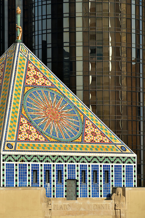 Central Library Tiled Pyramid Tower in Los Angeles, California<br />