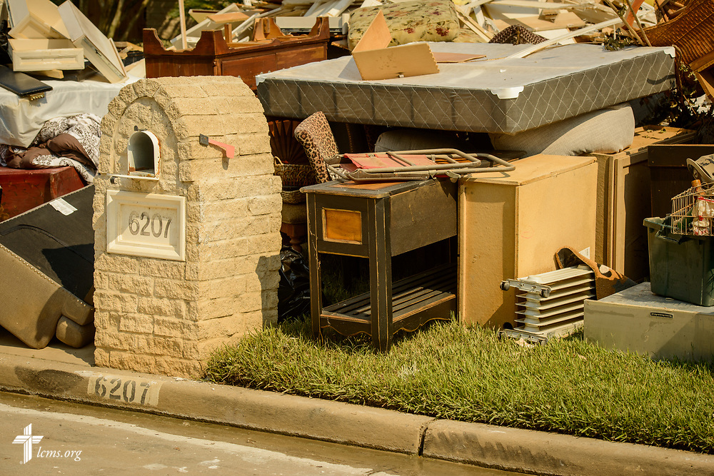 A mailbox with furnishings and interior materials damaged  from a flood in the aftermath of Hurricane Harvey on Saturday, Sept. 2, 2017, at a home in a residential neighborhood of Spring, Texas. LCMS Communications/Erik M. Lunsford