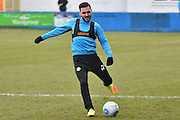 Forest Green Rovers Rob Sinclair(19) warms up  during the Vanarama National League match between Barrow and Forest Green Rovers at Holker Street, Barrow, United Kingdom on 28 January 2017. Photo by Mark Pollitt.
