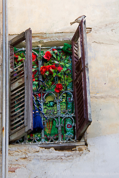North Africa, Morocco, Fes. Window of Fes residence.