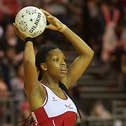 Eboni Beckford-Chambers, England, in action during the New Zealand V England, New World International Netball Series, at the ILT Velodrome, Invercargill, New Zealand. 6th October 2011. Photo Tim Clayton...