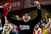 A fan of Sunderland celebrates his team winning the EFL Cup match between Sheffield United and Sunderland at Bramall Lane, Sheffield, England on 25 September 2019.