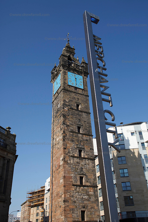 Picture shows : Glasgow Cross Merchant City sign..Merchant City Area, Glasgow. Travel guide feature..Picture Drew Farrell. tel : 07721-735041......