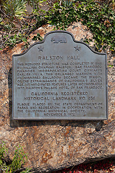 RALSTON HALL<br /> <br /> This redwood structure was completed in 1868 by William Chapman Ralston, San Francisco financier, incorporating Count Cipriani's earlier villa. This enlarged mansion with its mirrored ballroom became the symbol of the extravagance of California's silver age. It anticipated features later incorporated into Ralston's Palace Hotel of San Francisco.<br /> <br /> California Registered Historical Landmark No. 856<br />  <br /> Plaque placed by the State Department of Parks and Recreation in cooperation with the California Historical Society, November 5, 1972.