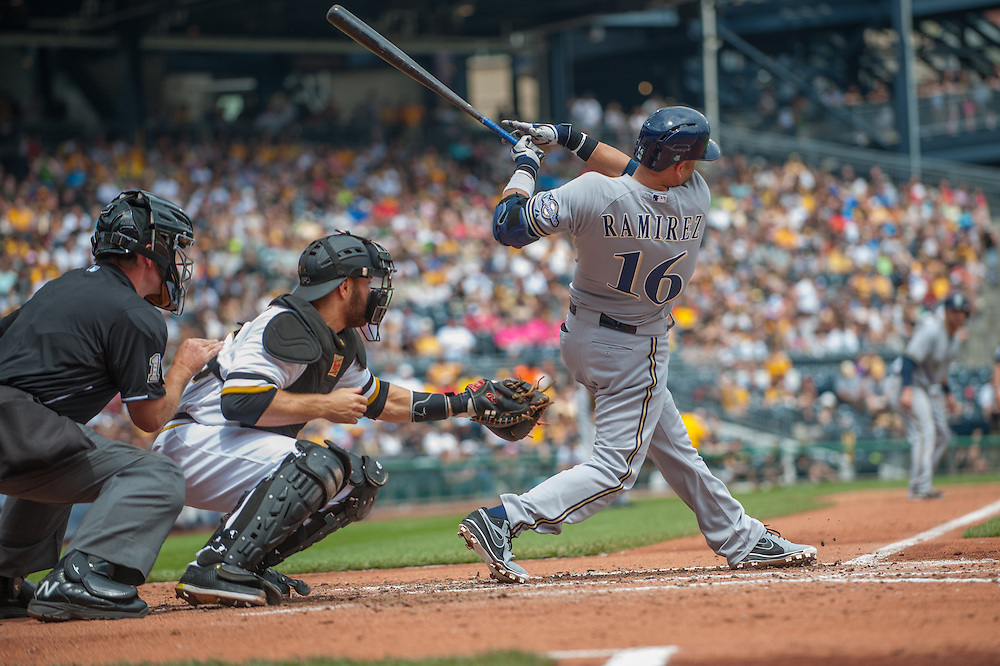 PITTSBURGH, PA - JUNE 08: Aramis Ramirez #16 of the Milwaukee Brewers bats during the game against the Pittsburgh Pirates at PNC Park on June 8, 2014 in Pittsburgh, Pennsylvania. (Photo by Rob Tringali) *** Local Caption *** Aramis Ramirez